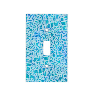 Blue Turquoise Mosaic Glass Tile Modern Chic Light Switch Cover