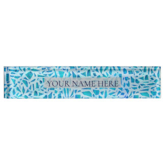 Blue Turquoise Mosaic Glass Tile Modern Chic Name Plate