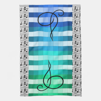 Blue Turquoise Musical Music Musician Kitchen Gift Towel