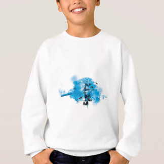 Blue Turquoise Nature Land Tree Bird Design Sweatshirt
