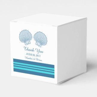 Blue Turquoise Nautical Seashells Favor Boxes