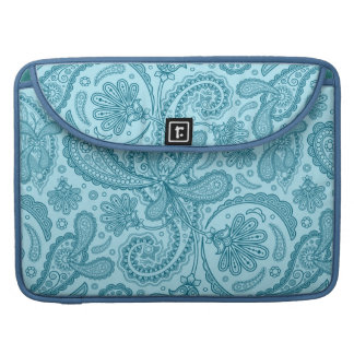 Blue & Turquoise Ornate Pastel Paisley Pattern Sleeve For MacBooks