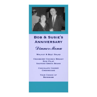Blue Turquoise Special Event Menu Customized Rack Card