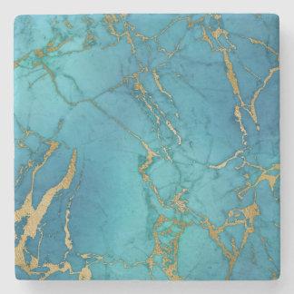 Blue Turquoise Stone Coaster Marble Gold Metallic
