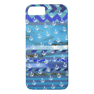 blue turquoise stripes & anchor pattern iPhone 7 case