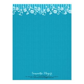 Blue & Turquoise Stripes & Floral Lace 2 Letterhead