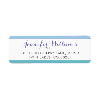 Blue Turquoise Stripes Modern Return Address Label