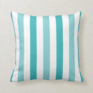 Blue Turquoise Stripes Throw Pillow