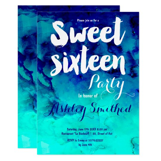Blue turquoise watercolor typography Sweet 16 Card