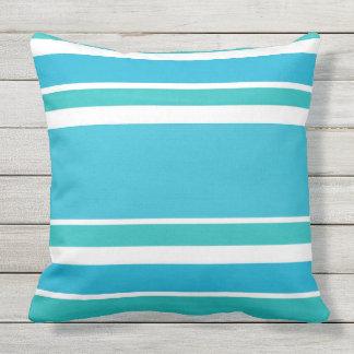 Blue Turquoise White Stripes Throw Pillow