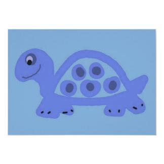 """Blue Turtle Birth Announcements 5"""" X 7"""" Invitation Card"""