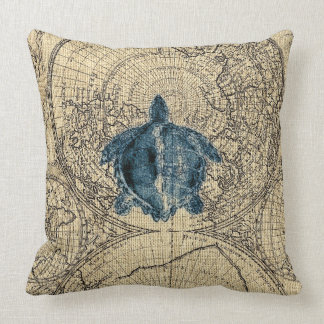 Blue Turtle Illustration Map Coastal Honey Color Throw Pillow