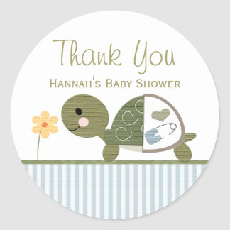 BLUE Turtle in Diapers Baby Shower Thank You Classic Round Sticker