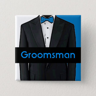 Blue tuxedo customizable groomsman button