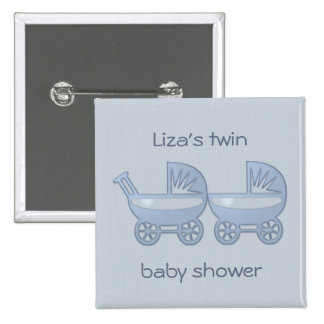 blue twin baby buggy 2 inch square button