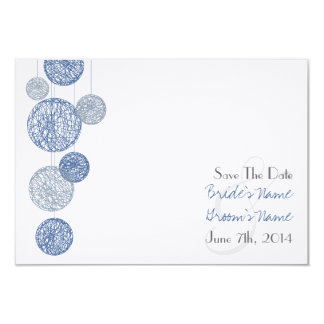Blue Twine Globes Wedding Save The Date Card