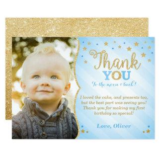 Blue Twinkle Twinkle Little Star Thank You Card
