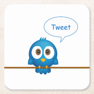 Blue twitter bird cartoon square paper coaster