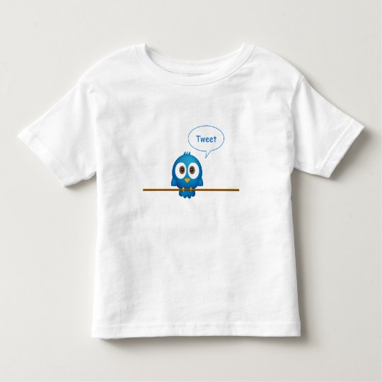 Blue twitter bird cartoon tweeting toddler t-shirt