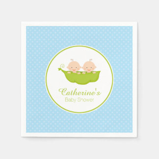Blue Two Peas in Pod Baby Shower Paper Napkin
