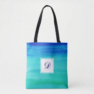Blue Two-Toned Watercolor Monogram Tote Bag