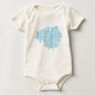 Blue Type map of Greater Manchester Baby Bodysuit
