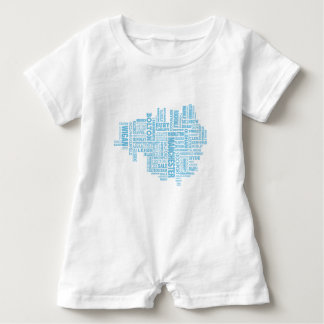 Blue Type map of Greater Manchester Baby Romper