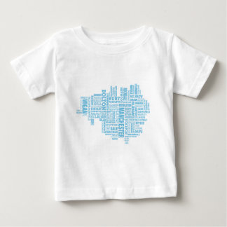 Blue Type map of Greater Manchester Baby T-Shirt