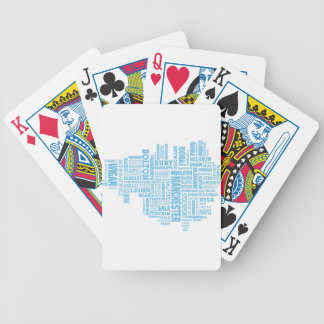 Blue Type map of Greater Manchester Bicycle Playing Cards