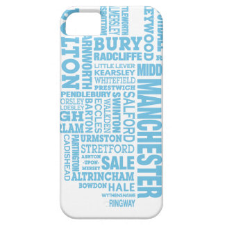Blue Type map of Greater Manchester Case For The iPhone 5