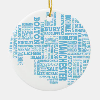 Blue Type map of Greater Manchester Ceramic Ornament