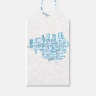 Blue Type map of Greater Manchester Gift Tags