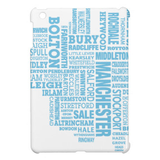 Blue Type map of Greater Manchester iPad Mini Cover