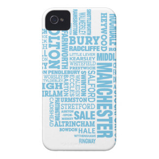 Blue Type map of Greater Manchester iPhone 4 Case-Mate Cases