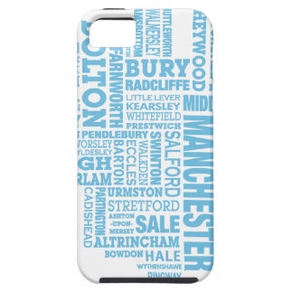 Blue Type map of Greater Manchester iPhone 5 Case