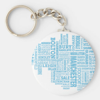 Blue Type map of Greater Manchester Keychain