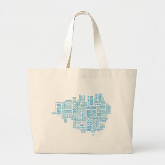 Blue Type map of Greater Manchester Large Tote Bag