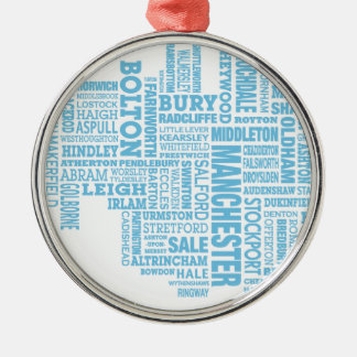 Blue Type map of Greater Manchester Metal Ornament