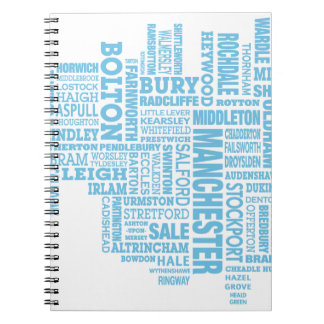 Blue Type map of Greater Manchester Note Book