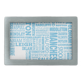 Blue Type map of Greater Manchester Rectangular Belt Buckle