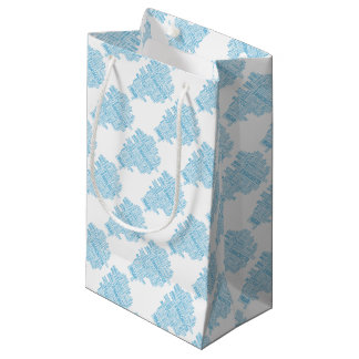 Blue Type map of Greater Manchester Small Gift Bag