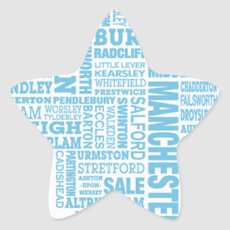 Blue Type map of Greater Manchester Star Sticker