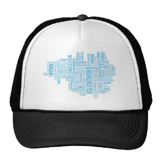 Blue Type map of Greater Manchester Trucker Hat