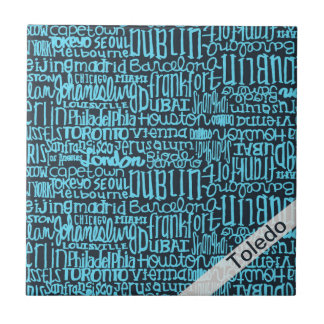blue Typographic Cities Add Your City Ceramic Tiles