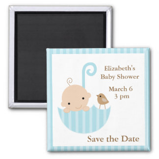 Blue Umbrella Baby Shower Magnet