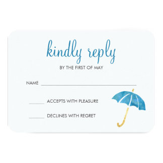 Blue Umbrella Baby Shower RSVP Response Card