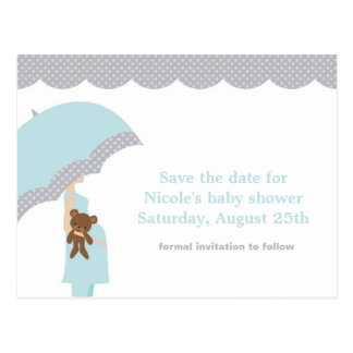 Blue Umbrella Baby Shower Save the Date Postcard
