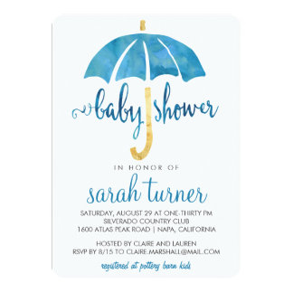 Blue Umbrella Boy Baby Shower Invitations