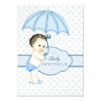 "Blue Umbrella Boy Sprinkle Baby Shower 4.5"" X 6.25"" Invitation Card"