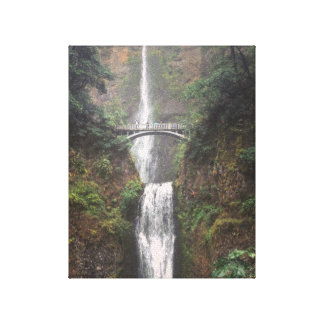 Blue Umbrella on the Bridge over Multnomah Falls Canvas Print
